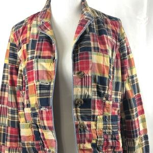 L.L. Bean Patchwork Plaid button front blazer Sz12